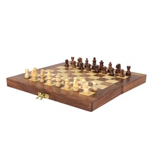 Desi Karigar Wooden Handmade Standard Classic Chess Board Game Small Chess Pieces Foldable Size 6 Inches (non-magnetic)