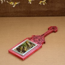 Unravel India Wooden Hand Carved Pink Hand Mirror