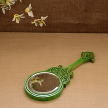 Unravel India Wooden Hand Carved Green Hand Mirror