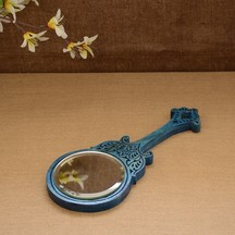 Unravel India Wooden Hand Carved Blue Hand Mirror