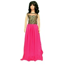 Buy 2 Fast Kids Pink Faux Georgette Semi Stitched Gown