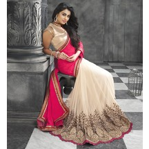 Beige & Pink Georgette Embroidered Saree With Blouse