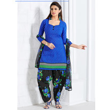 Shonayaa Blue Printed Cotton Unstitched Dress Material With Dupatta