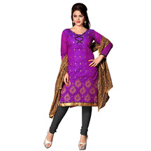 Shonayaa Purple Embroidery Chanderi Unstitched Dress Material With Dupatta