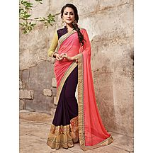Shonaya Purple & Pink Colour Georgette & Chiffon Embroidered Saree With Unstitched Blouse Piece