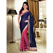 Shonaya Blue & Red Colour Net,georgette & Crepe Embroidered Saree With Unstitched Blouse Piece