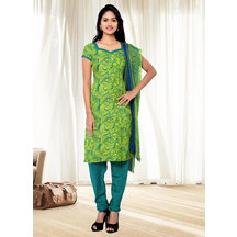 Shonayaa Greenyellow Crepe Printed Unstitched Dress Material With Dupatta