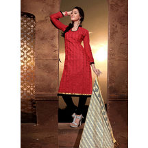Shonayaa Red Chanderi Silk Embroidery Unstitched Dress Material With Dupatta