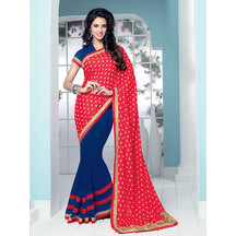 Shonaya Red & Blue Colour Faux Georgette Patch Work Saree With Unstitched Blouse Piece