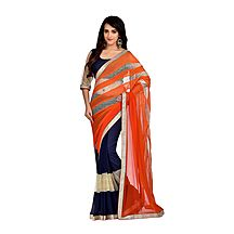 Orange Georgette Lace Work Saree With Blouse