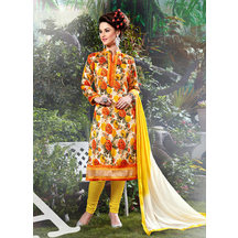 Shonayaa Cream Bhagalpuri Printed Unstitched Dress Material With Dupatta
