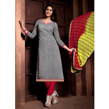 Shonayaa Grey Chanderi Silk Printed Unstitched Dress Material With Dupatta