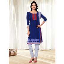 Shonayaa Blue Crepe Printed Unstitched Dress Material With Dupatta