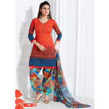 Shonayaa Orange Printed Cotton Unstitched Dress Material With Dupatta