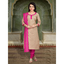 Shonayaa Beige Poly Cotton Printed Unstitched Dress Material With Dupatta