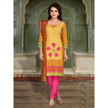 Shonayaa Yellow Cotton Printed Unstitched Dress Material With Dupatta