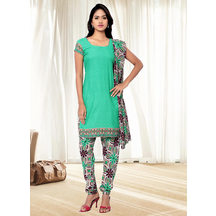 Shonayaa Green Crepe Printed Unstitched Dress Material With Dupatta