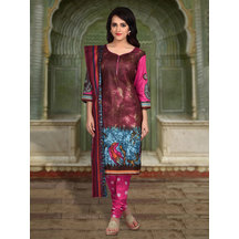 Shonayaa Maroon Cotton Printed Unstitched Dress Material With Dupatta