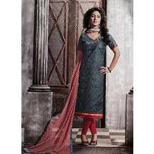 Shonayaa Grey Chanderi Embroidery Unstitched Dress Material With Dupatta