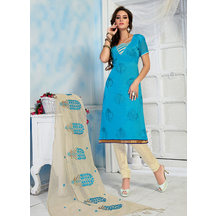 Shonayaa Skyblue Chanderi Embroidery Unstitched Dress Material With Dupatta