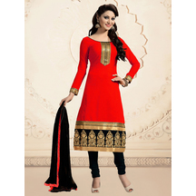 Shonayaa Red Chanderi Cotton Unstitched Dress Material With Dupatta