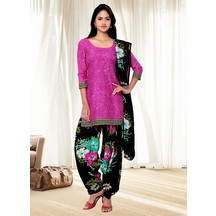 Shonayaa Pink Crepe Printed Unstitched Dress Material With Dupatta