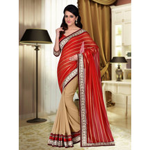 Shonaya Red & Beige Colour Georgette Embroidered Saree With Unstitched Blouse Piece