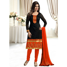 Shonayaa Black Chanderi Cotton Unstitched Dress Material With Dupatta