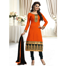 Shonayaa Orange Chanderi Cotton Unstitched Dress Material With Dupatta