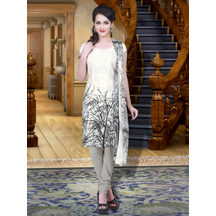 Shonayaa Cream & Black Designer Printed Crepe Unstitched Dress Material With Dupatta