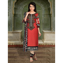 Shonayaa Red Poly Cotton Printed Unstitched Dress Material With Dupatta