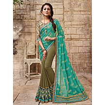 Shonaya Beige & Turquoise Colour Georgette Embroidered Saree With Unstitched Blouse Piece