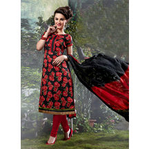 Shonayaa Black Bhagalpuri Printed Unstitched Dress Material With Dupatta