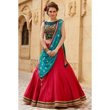 Laxmipathi Presents Craftsvilla Special Designer Banglori Silk Blue And Red Colour Embroidered Lehegha Choli