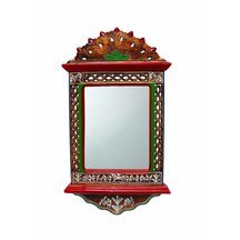 Indikala Indian Handcrafted Jharokha Mirror With Intricate Warli Work And Perforated Side Panels ( 22 Inch Tall )