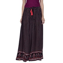Juniper Black Colored Long Gathered Skirt With Tassels Attached To The Waist String