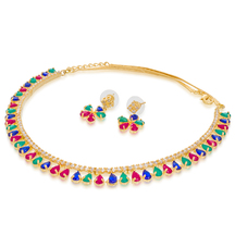 Craftsvilla  Gold Plated Austrian Diamond And Stone Multicolor Charming Necklace Set