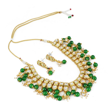 Craftsvilla Stylish High Quality Kundan With Green Stone And Shining Beige Pearl Necklace Set With Earrings