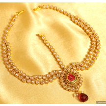 Double Line Polki Red Maathapatti