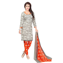 Ishin French Crepe Grey & Orange Printed Dress Material