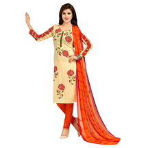 Ishin French Crepe Beige & Orange Printed Dress Material