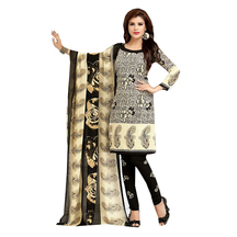 Ishin French Crepe Black & Beige Printed Dress Material