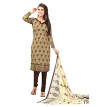 Ishin French Crepe Beige & Brown Printed Dress Material