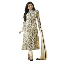 Ishin  French Crepe Beige & Black Printed Unstitched Dress Material