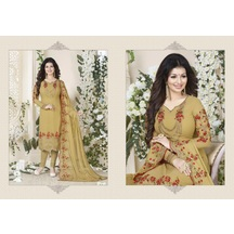 Splendorous Designerstylist Light Yellow Georgette Embroidered Staight Salwar Suit With Heavy Duptta