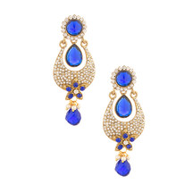 Voylla Splendid Drop Design Gold Plated Designer Earrings Cz And Blue