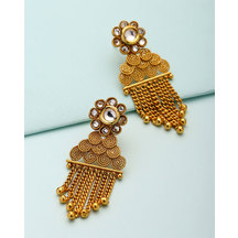 Voylla Yellow Gold Tone Dangler Earrings