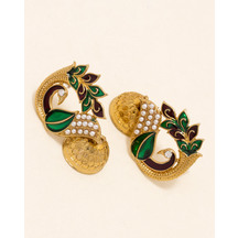 Voylla Peacock Theme Beautifully Enameled Jhumki Earrings