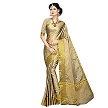 Avanya Beige & Gold Colour Cotton Art Silk Woven Work Saree With Unstitched Blouse Piece