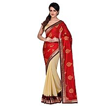 Avanya Red & Beige Colour Georgette & Satin Crepe Embroidered Saree With Unstitched Blouse Piece